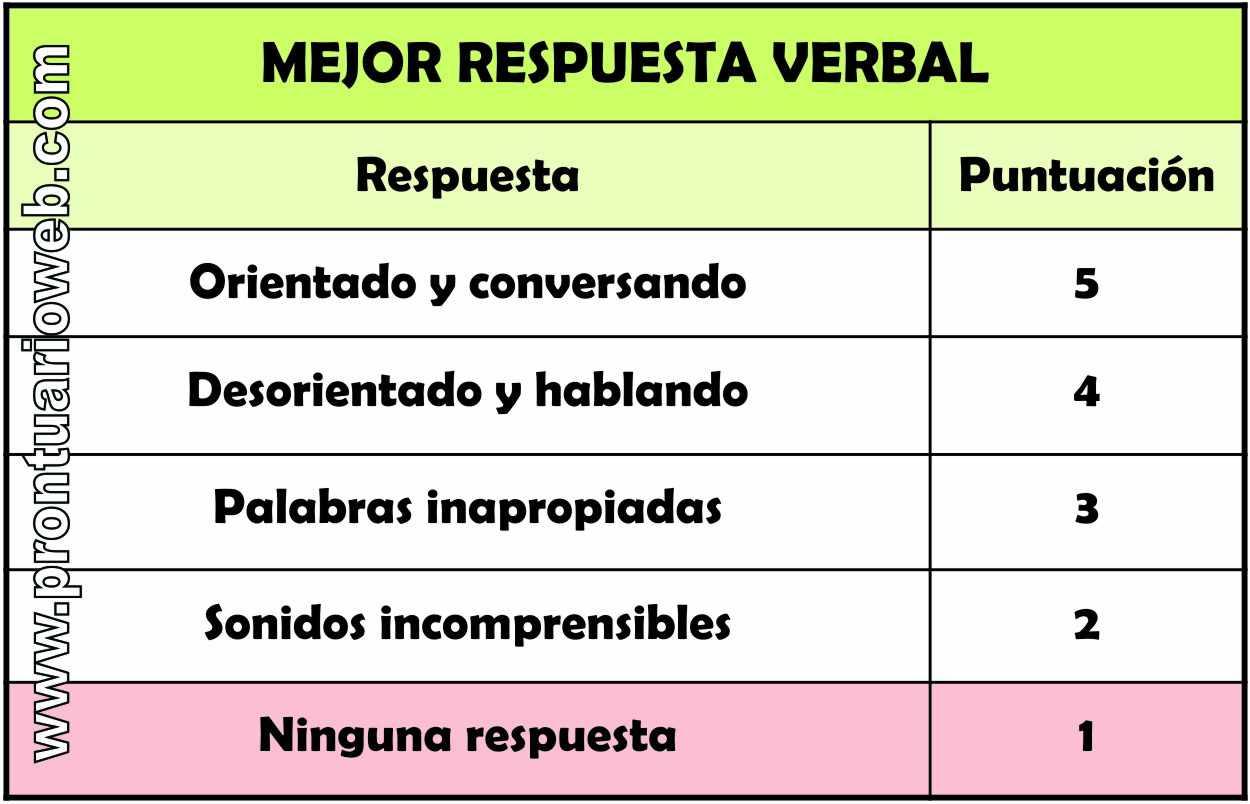 respuesta verbal español - prontuarioweb